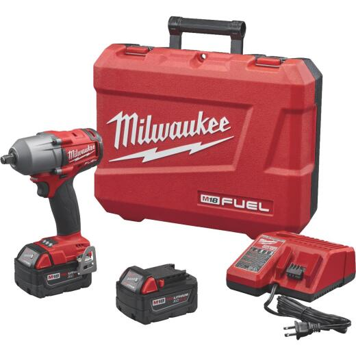 Milwaukee M18 FUEL 18-Volt Lithium-Ion Brushless 1/2 In. Mid-Torque Cordless Impact Wrench with Friction Ring Kit